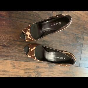 """Nine West peep toe Cheetah faux hair 4"""" heels"""